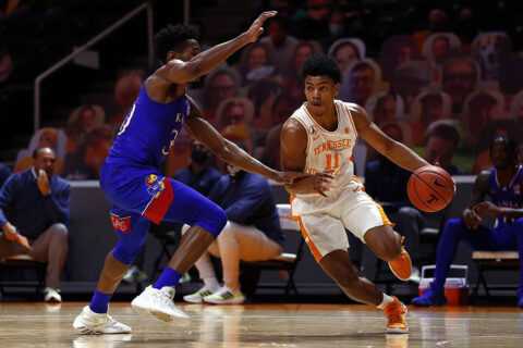 Tennessee Men's Basketball freshman Jaden Springer had 13 points and four rebounds in win over Kansas Saturday night. (UT Athletics)