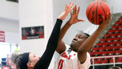 Austin Peay State University freshman D'Shara Booker has 10 points and 10 rebounds in win against Jacksonville State at the Dunn Center, Saturday. (APSU Sports Information)