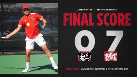 Austin Peay State University Men's tennis falls at Middle Tennessee, 0-7. (APSU Sports Information)