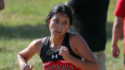 Austin Peay State University Women's Cross Country junior Sara Martin broker her Personal beat in the five kilometer Sunday at the Belmont Opener. (APSU Sports Information)