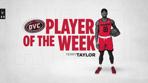 Austin Peay State University men's basektball senior Terry Taylor receives his 15th carerr OVC Player of the week award. (APSU Sports Information)