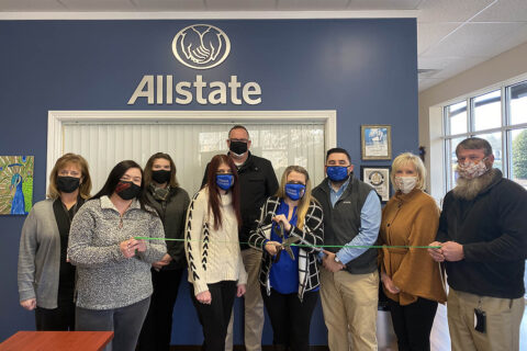 Clarksville-Montgomery County Green Certification green ribbon ceremony for Alexis Goines' Allstate Insurance