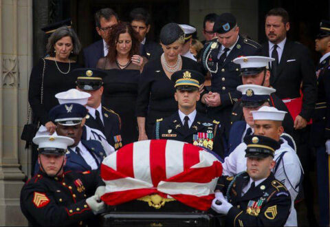 Austin Peay State University ROTC cadet Staff Sgt. Zachary Miller at front right during McCain's funeral. (Submitted photo)