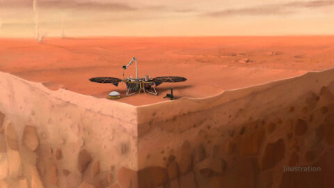 In this artist's concept of NASA's InSight lander on Mars, layers of the planet's subsurface can be seen below, and dust devils can be seen in the background. (IPGP/Nicolas Sarter)