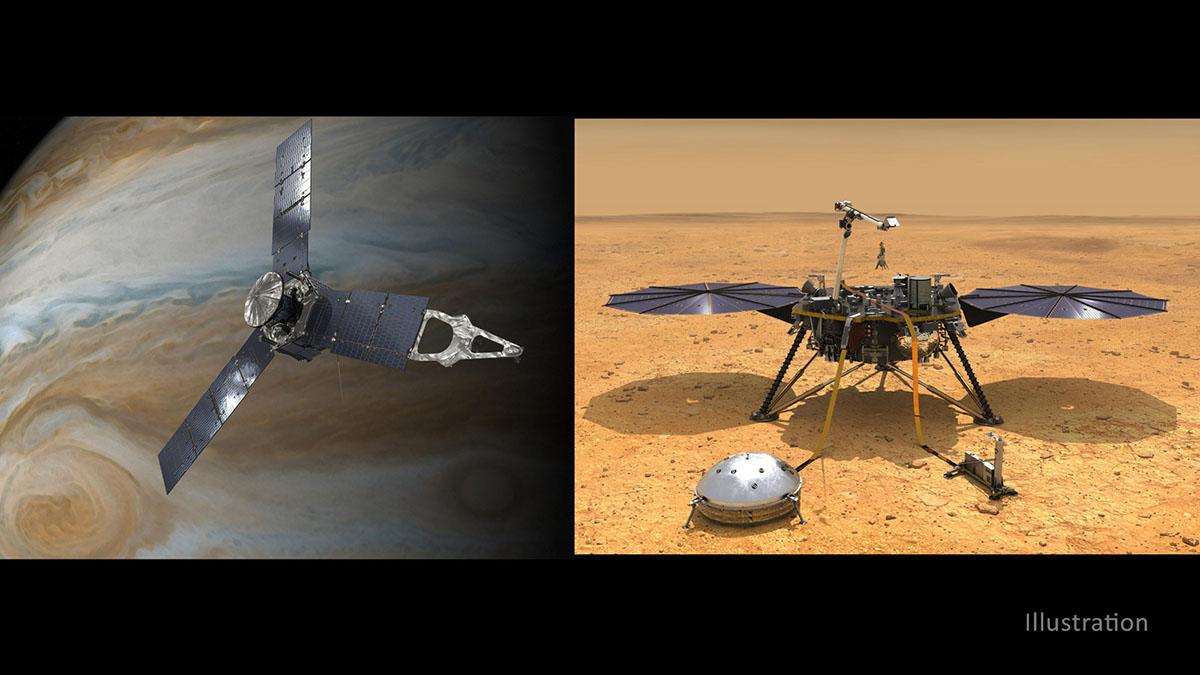 NASA has extended both the Juno mission at Jupiter through September 2025 (left) and the InSight mission at Mars through December 2022. (NASA/JPL-Caltech)