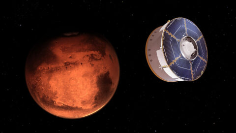 This illustration shows NASA's Mars 2020 spacecraft carrying the Perseverance rover as it approaches Mars. (NASA/JPL-Catech)