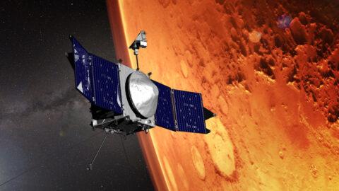 This illustration shows NASA's MAVEN spacecraft and the limb of Mars.  (NASA/Goddard)
