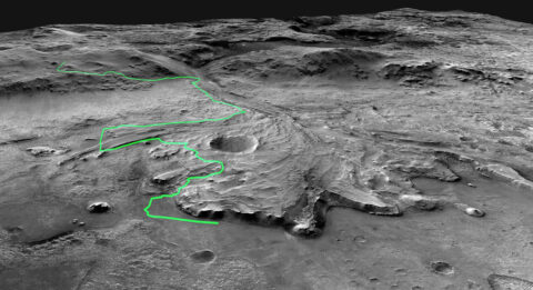 Composed of multiple precisely aligned images from the Context Camera on the Mars Reconnaissance Orbiter, this annotated mosaic depicts a possible route the Mars 2020 Perseverance rover could take across Jezero Crater as it investigates several ancient environments that may have once been habitable. (NASA/JPL-Caltech)