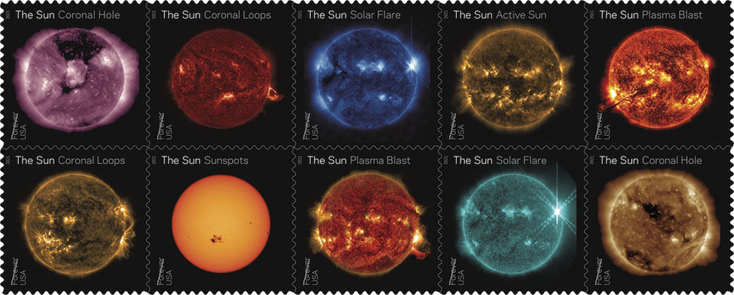 The United States Post office announced on Jan. 15, 2021, that they would be releasing a series of stamps highlighting images of the Sun captured by NASA's Solar Dynamics Observatory. (NASA/SDO/USPS)