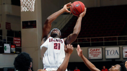 Austin Peay State University Men's Basketball senior Terry Taylor racks up 32 points and 14 rebounds in Saturday night win over Southeast Missouri at the Dunn Center. (Robert Smith, APSU Sports Information)