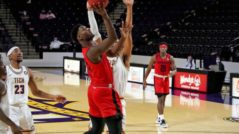 Austin Peay State University Men's Basketball sophomore Mike Peake had 25 points and 12 rebounds in loss at Tennessee Tech. (APSU Sports Information)