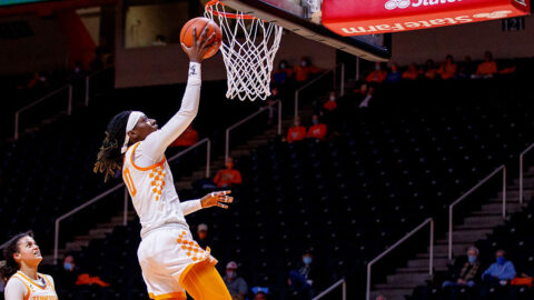Tennessee Women's Basketball senior Rennia Davis scores 26 points Thursday night in Lady Vols win at Missouri. (UT Athletics)