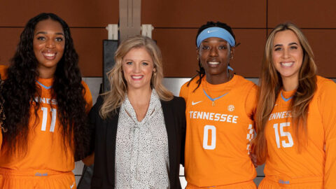 Tennessee Women's Basketball will hold Senior Day for Lady Vols (L to R) Kasiyahna Kushkituah. Head Coach Kellie Harper, Rennia Davis, and Jaiden McCoy, Sunday. (UT Athletics)