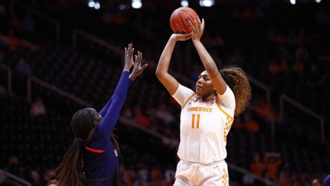 Tennessee Women's Basketball senior Kasiyahna Kushkituah had 19 points and eight rebounds in victory over Auburn, Sunday. (UT Athletics)