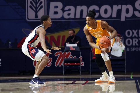 Tennessee Men's Basketball senior Yves Pons lead the Vols with 13 points against Ole Miss, Tuesday. (UT Athletics)