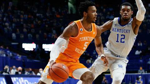 Tennessee Men's Basketball sophomore Josiah-Jordan James scores 10 points and pulls down 10 rebounds in victory over Kentucky Saturday night. (UT Athletics)