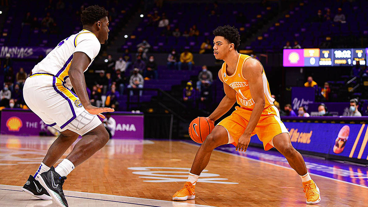 Tennessee Men's Basketball freshman Jaden Springer had 21 points, seven assists and six rebounds against LSU Saturday night. (UT Athletics)