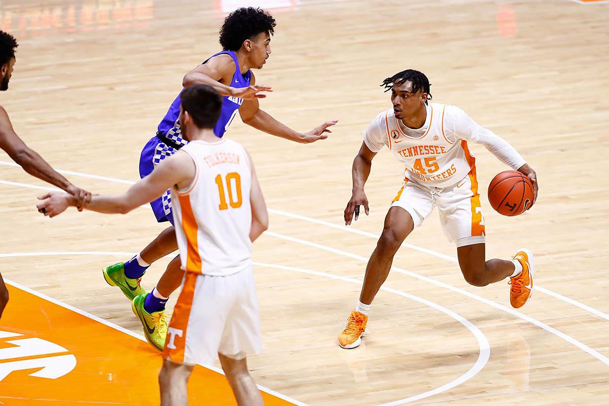 Tennessee Men's Basketball freshman Keon Johnson had 15 points in loss to Kentucky Saturday. (UT Athletics)