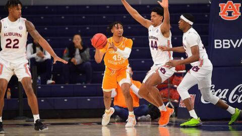 Tennessee Men's Basketball freshman guard Keon Johnson scored 23 points against Auburn Saturday night. (UT Athletics)