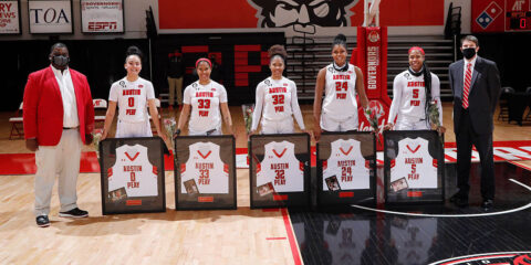 Austin Peay State University Women's Basketball honored (L to R) Tahanee Bennell, Brandi Ferby, Brianah Ferby, Kelen Kenol, and Myah LeFlore on Senior Day after the game. (Robert Smith, APSU Sports Information)