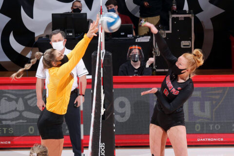 Austin Peay State University Volleyball takes down Tennessee Tech 3-0 at the Dunn Center, Monday. (Robert Smith, APSU Sports Information)