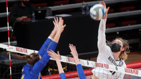 Austin Peay State University Volleyball loses in straight sets to Morehead State, Sunday. (APSU Sports Information)