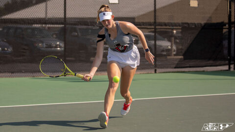 Austin Peay State University Women's Tennis' Fabienne Schmidt defeats Middle Tennessee's Lee Barnard 6-3, 6-2. (APSU Sports Information)