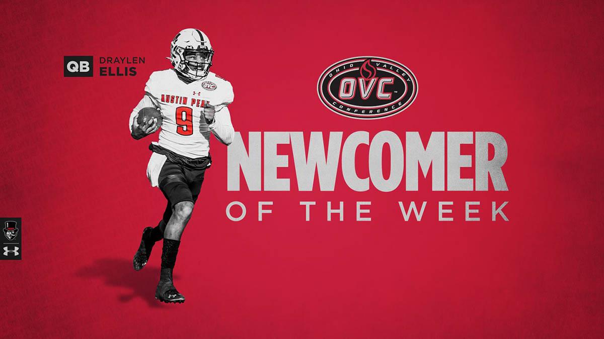 Austin Peay State University quarterback Draylen Ellis named OVC Newcomer of the Week. (APSU Sports Information)