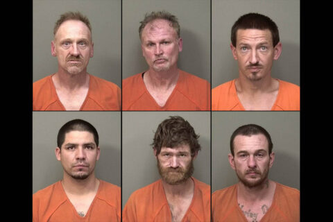 Montgomery County Sheriff's Office arrests (Top L to R) Brian Joyce, Daniel Brinkley, Johnathan Askew, (Botttom L to R) Seki Sanchez, Jeremy Shivers and Jonathan Hunter for Theft.