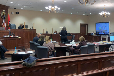 Montgomery County Circuit Court Judge Katy Olita holds 19th Judicial District circuit court civil trial using a virtual/in-person hybrid process