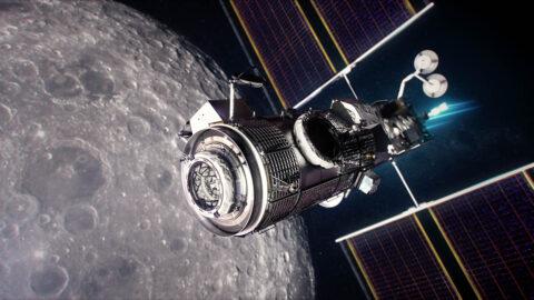 This illustration shows the Gateway lunar platform orbiting the Moon. (NASA)