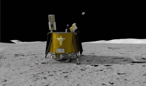 Illustration of Firefly Aerospace's Blue Ghost lander on the lunar surface. The lander will carry a suite of 10 science investigations and technology demonstrations to the Moon in 2023 as part of NASA's Commercial Lunar Payload Services (CLPS) initiative. (Firefly Aerospace)