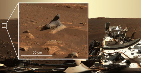 This wind-carved rock seen in first 360-degree panorama taken by the Mastcam-Z instrument shows just how much detail is captured by the camera systems. (NASA/JPL-Caltech/MSSS/ASU)