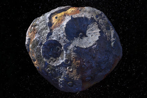 This artist's concept, updated as of June 2020, depicts NASA's Psyche spacecraft. Set to launch in August 2022, the Psyche mission will explore a metal-rich asteroid of the same name that lies in the main asteroid belt between Mars and Jupiter. (NASA/JPL-Caltech/ASU)