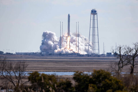 The Northrop Grumman Antares rocket, with Cygnus resupply spacecraft aboard, launches from Pad-0A, Saturday, Feb. 20, 2021, at NASA's Wallops Flight Facility in Virginia. Northrop Grumman's 15th contracted cargo resupply mission for NASA to the International Space Station will deliver about 8,000 pounds of science and research, crew supplies, and vehicle hardware to the orbital laboratory and its crew. (NASA/Patrick Black)