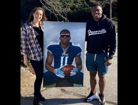 APSU alumna Sarah Beth Bills and Tennessee Titans wide receiver A.J. Brown.