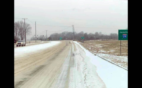 Mayors urge residents to stay home and off roads. Photo is of Rossview Road. (Montgomery County Sheriff's Office)