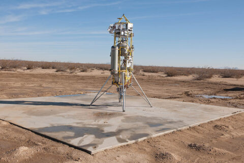 Masten's Xombie VTVL system sits on a launchpad in Mojave, California in December 2014. (Masten Space Systems)