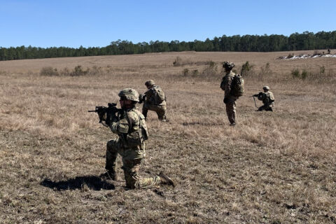 """Soldiers from 1st Battalion, 506th Infantry Regiment """"Red Currahee"""", 1st Brigade Combat Team """"Bastogne"""", 101st Airborne Division (Air Assault) preparing to assault on the objective on Fort Polk, Louisiana during a live fire exercise Feb. 20. (U.S. Army Photo by Maj. Vonnie Wright)"""