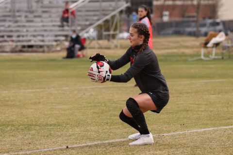 Austin Peay State University Soccer goalkeeper Chloé Dion makes career-high seven saves in loss to Murray State, Tuesday. (APSU Sports Information)