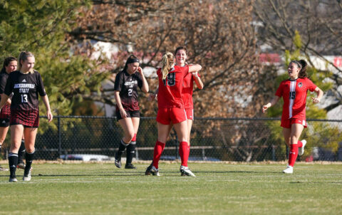 Austin Peay State University Soccer junior Rachel Bradberry scores the winning goal in OT to give the Govs a 2-1 victory over Eastern Kentucky. (APSU Sports Information)