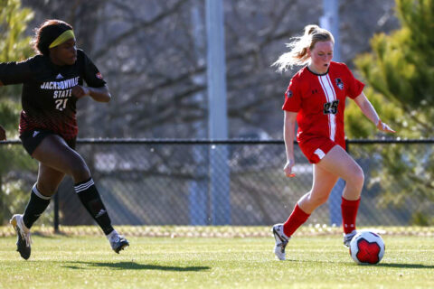 Austin Peay State University soccer senior Ashley Whittaker scores in double overtime to defeat Jacksonville State, 4-3. (APSU Sports Information)