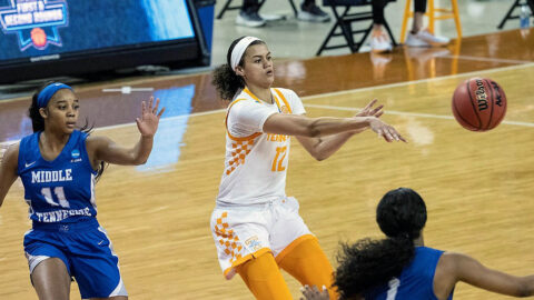 Tennessee Women's Basketball sophomore Rae Burrell had 22 points in Lady Vols win over Middle Tennessee in the NCAA Tournament, Sunday. (Ut Athletics)
