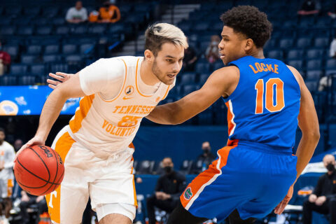 Tennessee Men's Basketball freshman Santiago Vescovi scored 14 points and drained four 3 pointers in Vols win over Florida in SEC Tournament quarterfinals action, Friday. (UT Athletics)