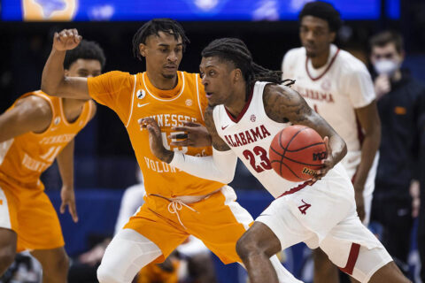 Tennessee Men's Basketball falls to Alabama at Bridgestone Arena in SEC Tournament semifinals, 73-68. (UT Athletics)