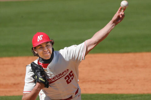 Austin Peay State University relief pitcher Harley Gollert held Belmont scoreless for six inning in Game 1 win for the Govs. (Robert Smith, APSU Sports Information)