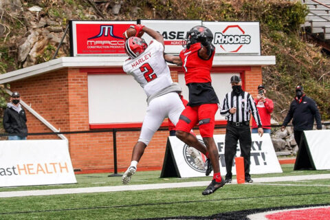 Austin Peay State University Football receiver Baniko Harley pulls in a 22 yard pass from quarterback Draylen Ellis for the game winning touchdown against Southeast Missouri, Sunday. (APSU Sports Information)