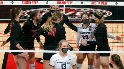 Austin Peay State University Volleyball gets three-set win over Murray State Monday at the Dunn Center. (APSU Sports Information)