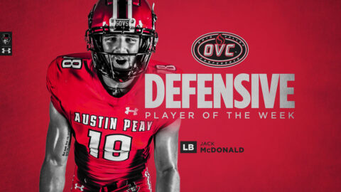 Austin Peay State University Football's Jack McDonald named OVC Defensive Player of the Week. (APSU Sports Information)