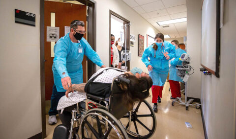 Rad tech and nursing students react during a recent interdisciplinary simulation. (APSU)